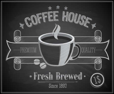 Coffee House card - Chalkboard. Vector illustration. Stock Vector - 19121175