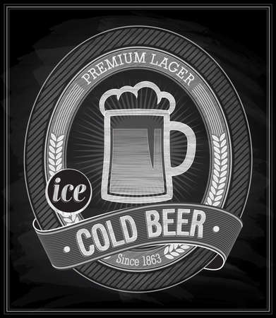 Cold Beer Poster - Chalkboard. Vector illustration. Vector
