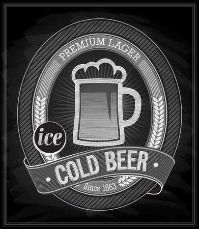 beer card: Cold Beer Poster - Chalkboard. Vector illustration. Illustration