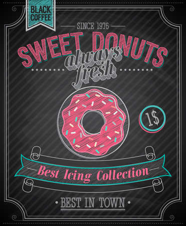 donut shop: Donuts Poster - Chalkboard. Vector illustration.