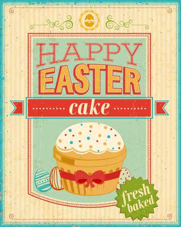 caligraphic: Vintage Easter card. Vector illustration.
