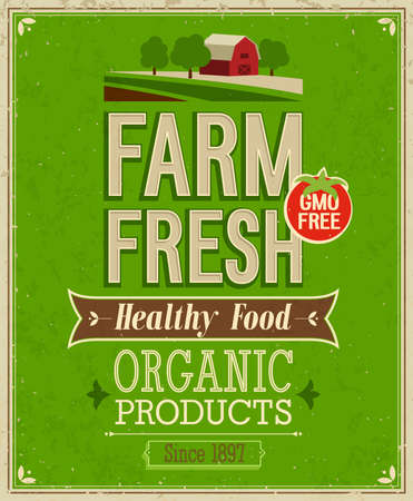 Vintage Farm Fresh Poster. Vector illustration. Vector