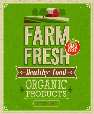 bauernhof: Weinlese Farm Fresh Poster. Vektor-Illustration.