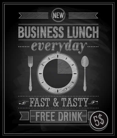 Bussiness Lunch Poster - Chalkboard. Vector illustration. Vector