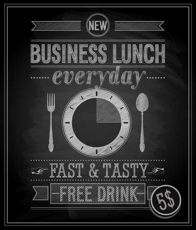 lettrage: D�jeuner Bussiness affiche - tableau. Vector illustration.
