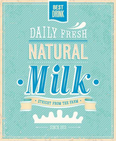 vacas lecheras: Tarjeta de leche de la vendimia. Ilustración del vector.