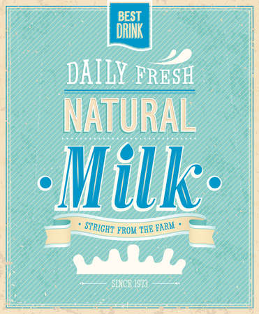 beautiful cow: Vintage Milk card. Vector illustration.