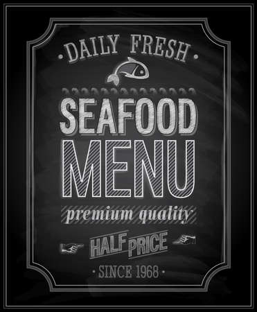 SeaFood Poster - Chalkboard.  illustration. Vector