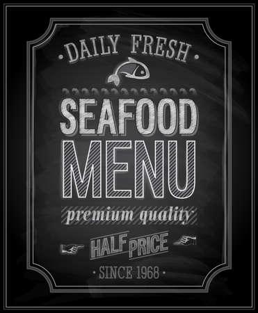 pescados y mariscos: SeaFood Poster - pizarra. ilustraci�n. Vectores