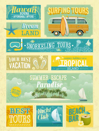 hawaii beach: Vintage summer holidays and beach advertisements.