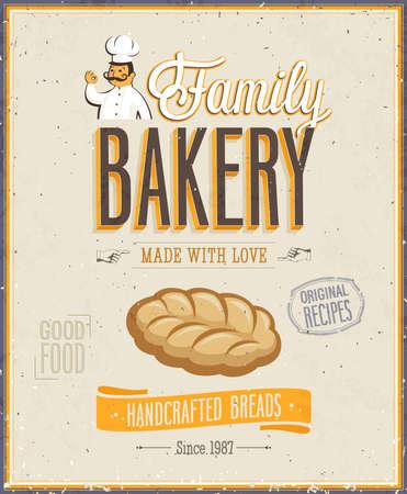 vintage cafe: VintagVintage Bakery Poster. Illustration