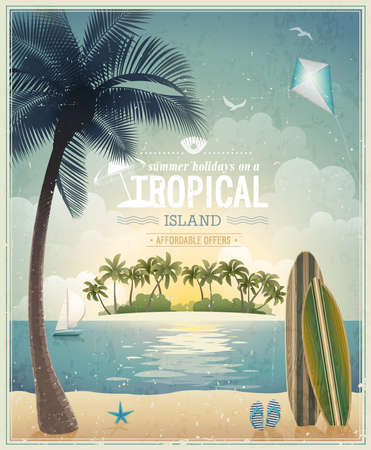 Vintage seaside view poster. Vector