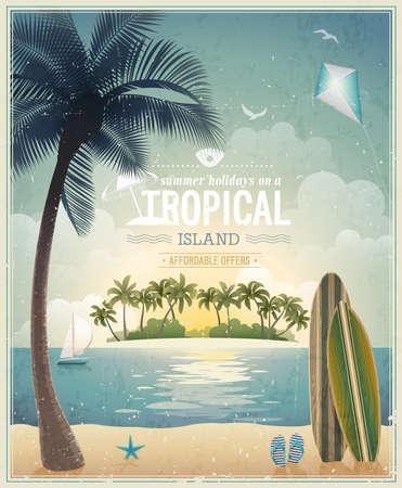 Weinlese-Blick aufs Meer Poster. Vektorgrafik
