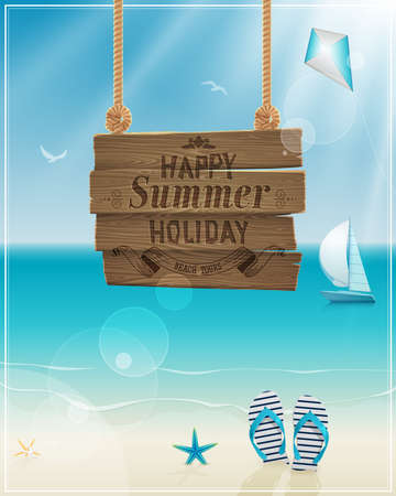 verano: Hermosa vista del cartel junto al mar.