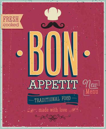 ビンテージ Bon Appetit ポスター。  イラスト・ベクター素材