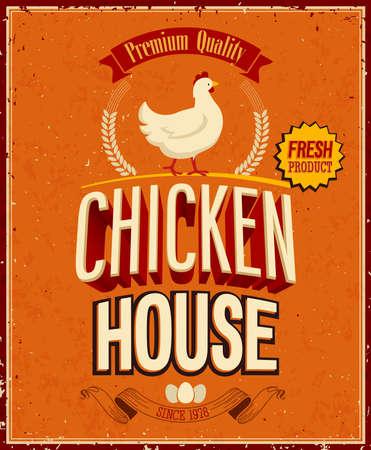 ročník: Vintage Chicken Dům plakát. Ilustrace
