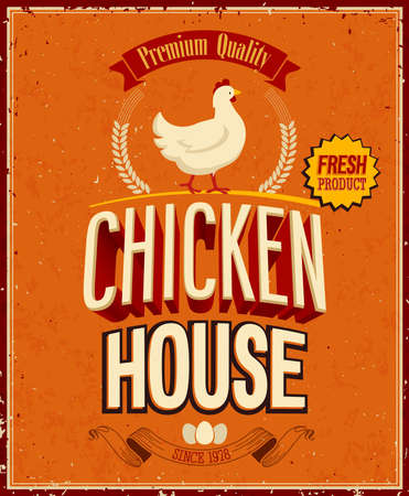 Vintage Chicken House Poster. Stock Vector - 21852642
