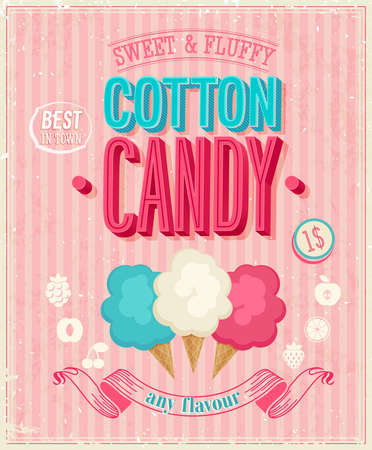 Vintage Cotton Candy Poster. 向量圖像