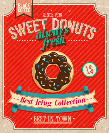 VINTAGE: Affiche Donuts Vintage. Illustration