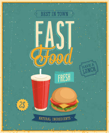 eating fast food: Vintage Fast Food Poster. Illustration