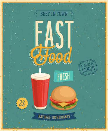 burger with fries: Vintage Fast Food Poster. Illustration