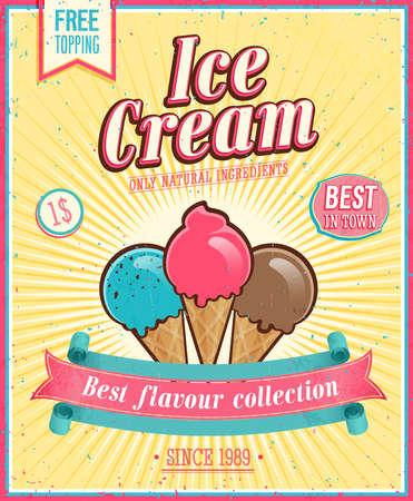 helado de chocolate: Crema Vintage Poster Ice.