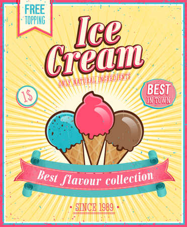 ice cream cone: Vintage Ice Cream Poster.  Illustration