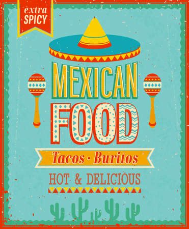 food: 復古的墨西哥食品海報。 向量圖像