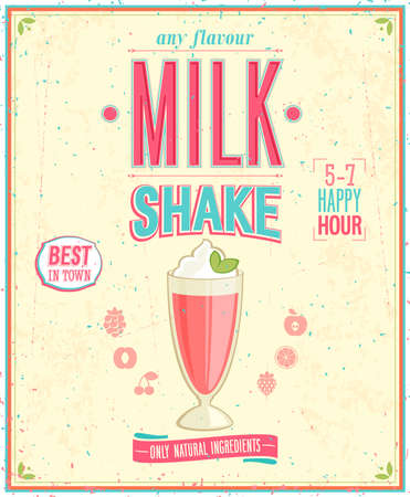 빈티지 밀크 쉐이크 포스터.