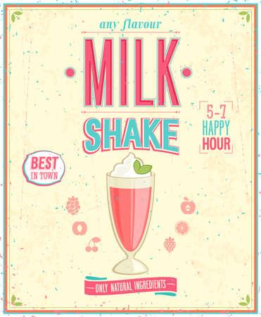 frutilla: Poster MilkShake Vintage. Vectores