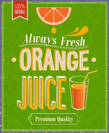 Vintage Orange Juice Poster.   Vector