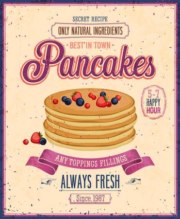 ビンテージ パンケーキ ポスター。  イラスト・ベクター素材