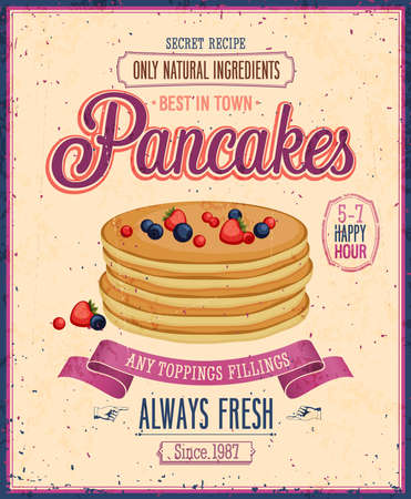 palatschinken: Weinlese Pancakes Poster. Illustration
