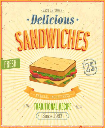 ビンテージ サンドイッチ ポスター。  イラスト・ベクター素材