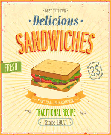 Vintage Sandwiches Poster.   Vector