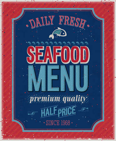 Vintage SeaFood Poster. Vector