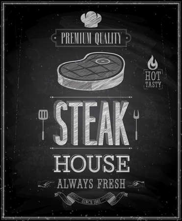 steak beef: Vintage Steak House Poster - Chalkboard. Illustration