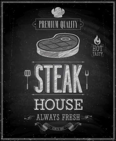 Vintage Steak House Poster - Schoolbord.