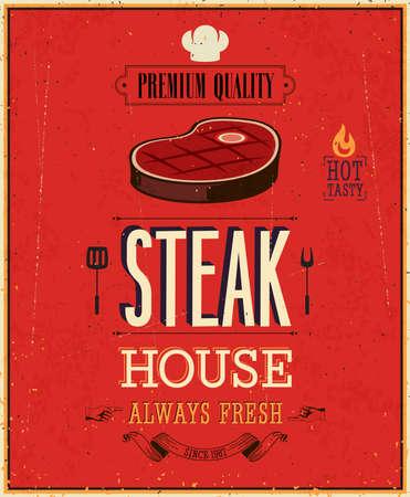 빈티지 스테이크 하우스 포스터.