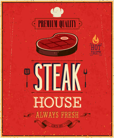 lettrage: Affiche de Chambre de Steak Vintage. Illustration