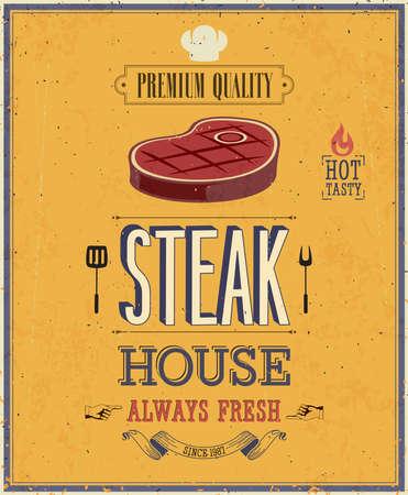 barbecue: Affiche de Chambre de Steak Vintage. Illustration