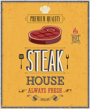 steak beef: Vintage Steak House Poster.   Illustration