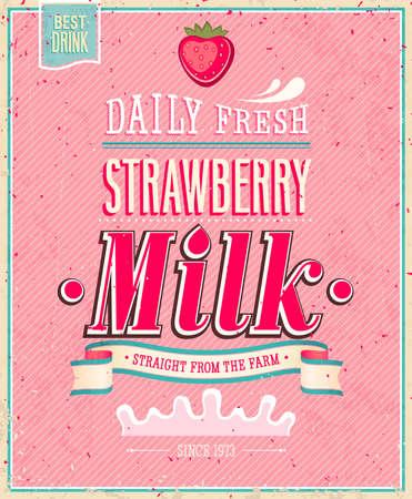 빈티지 딸기 우유 포스터. 일러스트