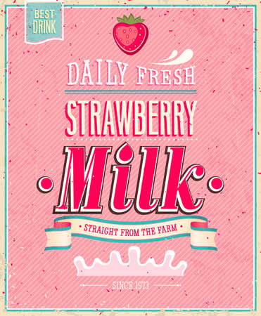 Affiche de lait de fraise Vintage. Banque d'images - 21852686