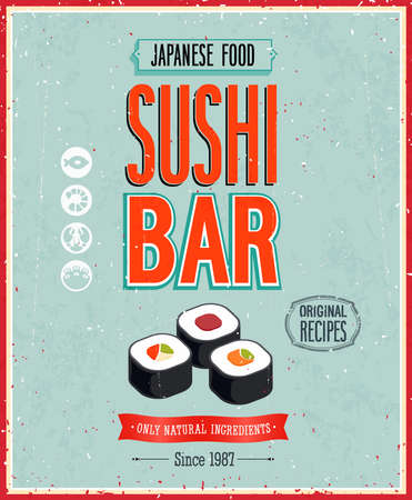and with posters: Vintage Sushi Bar Poster.