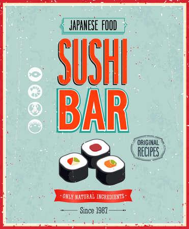 cafe bar: Vintage Sushi Bar Poster.