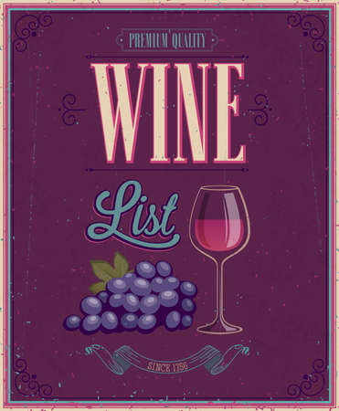 Vintage Wine List Poster. Vector