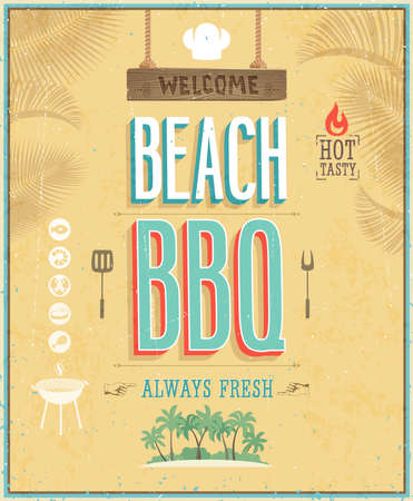 bbq: Vintage Beach BBQ poster. Illustration