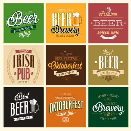 cerveza: Establece cerveza Vintage. Ilustraci�n del vector.