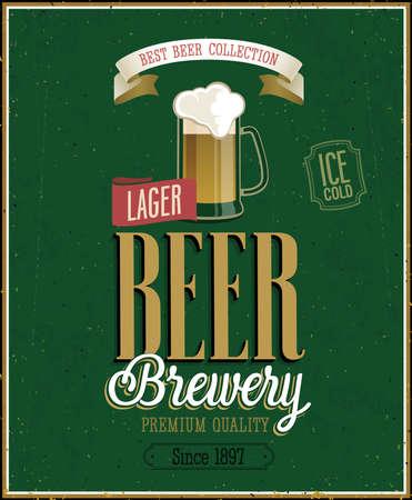 Vintage Bier Brouwerij Poster. Vector illustratie. Stock Illustratie